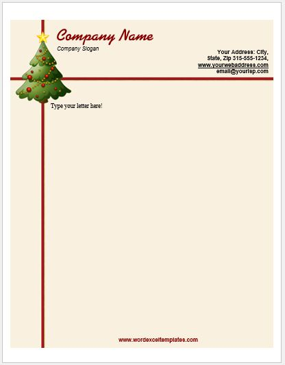 Christmas Letterhead Template  Christmas Letterhead Templates Word