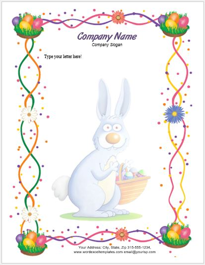 photo regarding Easter Bunny Letterhead named Occasion Letterhead Templates for MS Phrase Term Excel Templates
