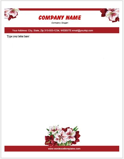 Floral Letterhead Templates For Ms Word Word Amp Excel