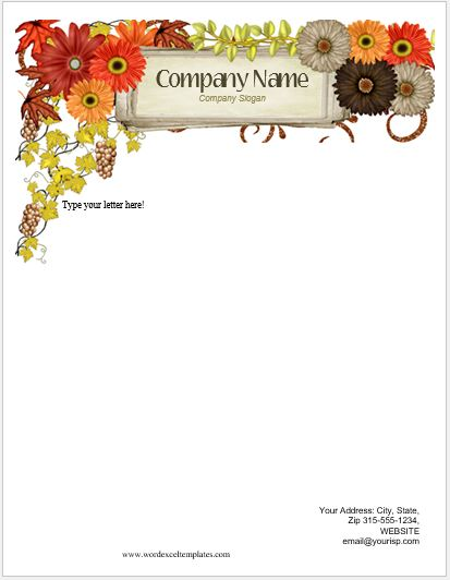 Floral Letterhead Templates for