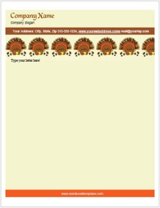 Thanksgiving Turkey Letterhead Template for MS Word
