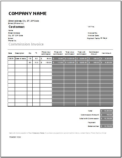 commission invoice template for excel word excel templates
