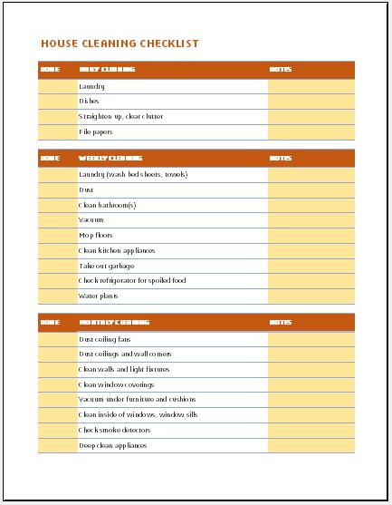 Daily weekly monthly house cleaning checklist word for Maid checklist template