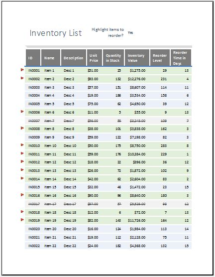 Equipment Inventory List With Reorder As Highlighted  Word  Excel