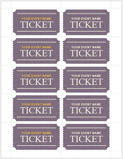 Event Ticket Template for MS Word