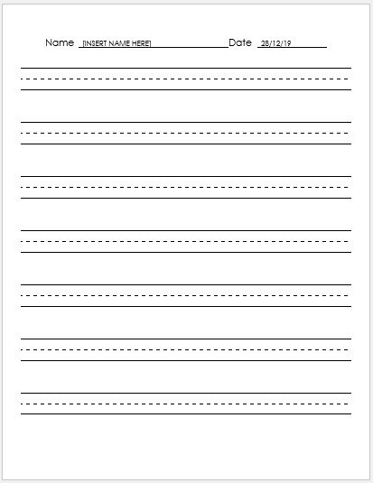 Lined Paper For Handwriting Practice  Lined Paper Word