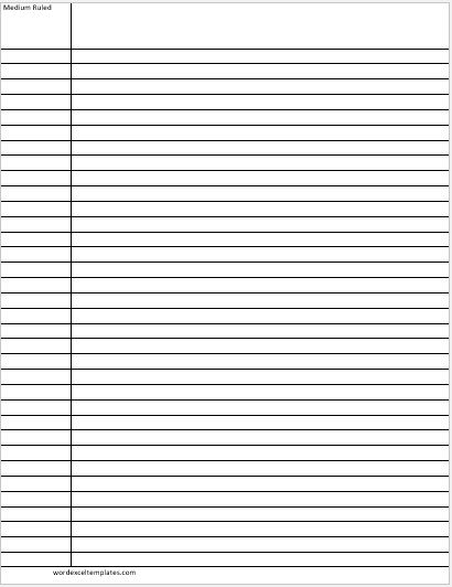 Medium Ruled Lines Paper