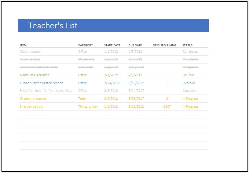 Teacher's to do list template for Excel
