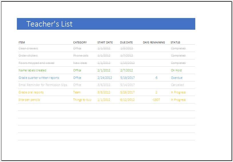 Teacher's to do list template for Excel