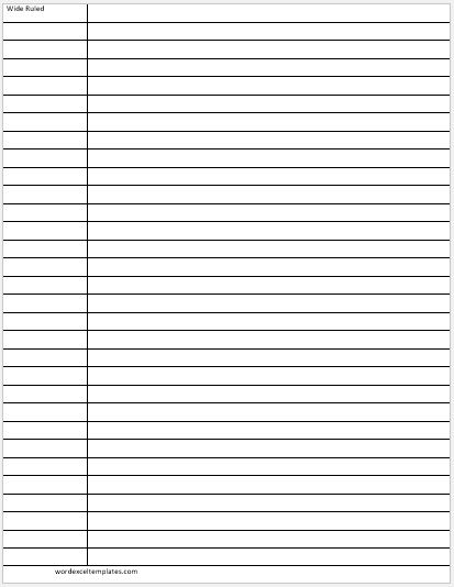 Wide Ruled Lines Paper