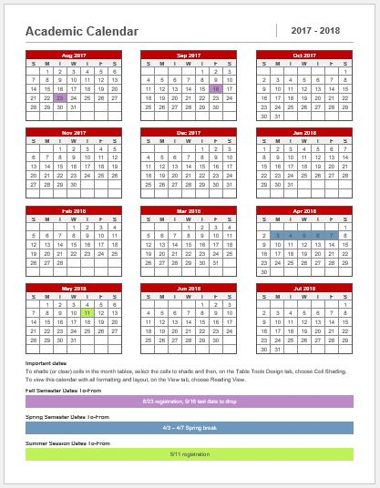 Academic Calendar Template 2017-18