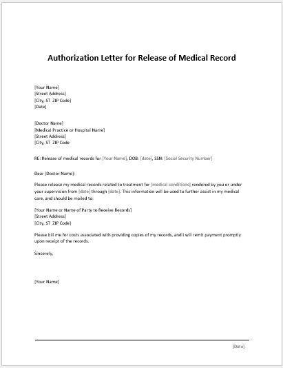 letter of authorization to release information release amp authorization forms for ms word word 15637