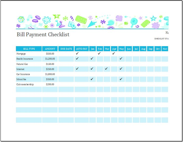 Bill Payment Checklist Templates for MS Excel | Word & Excel Templates