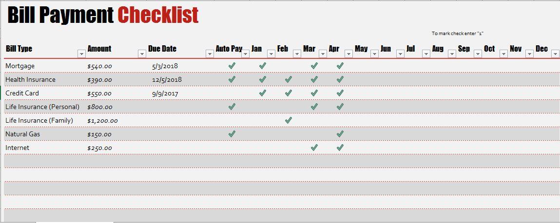 Bill Payment Checklist Template