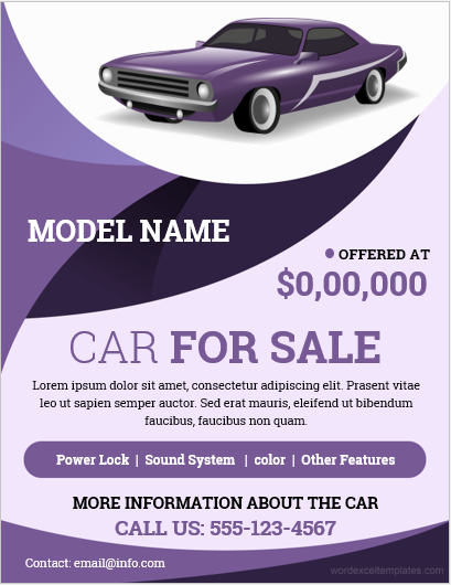 Flyer template for Car Sale