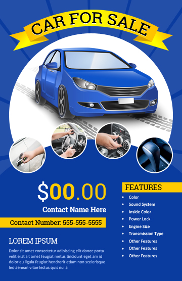 Car for Sale Flyer Template for MS Word