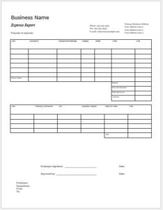 Columnar Expense Report Template for MS Word
