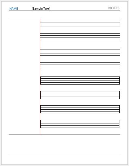 Cornell Note Paper with Music Sheet