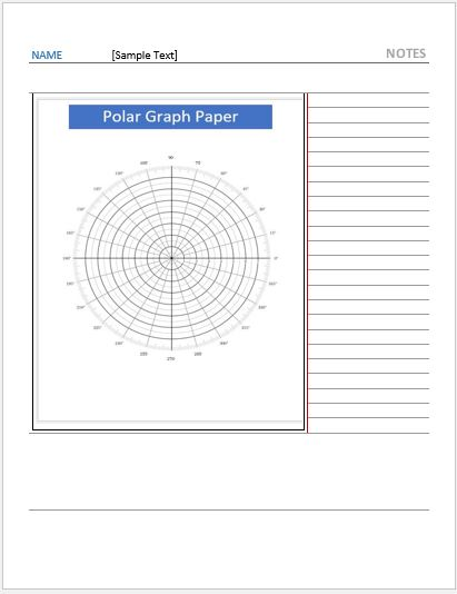Cornell Note Paper with Polar Graph