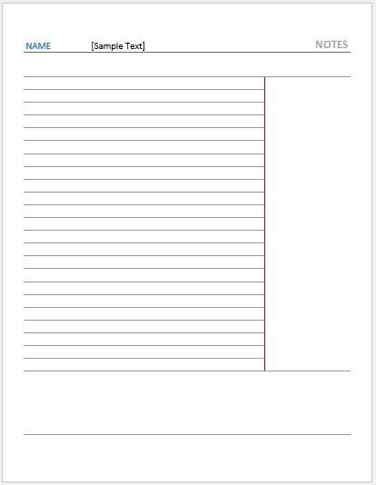 Cornell Note Paper -Reversed