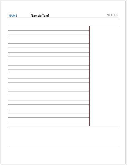 Cornell Note Paper -Reversed