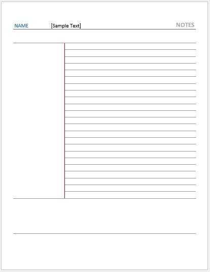 Cornell Note Paper