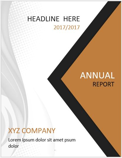Report Cover Page Template For MS Word  Annual Report Cover Page Template