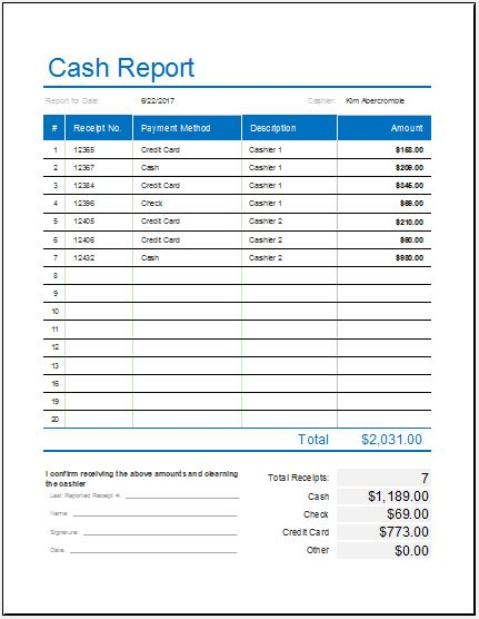 daily cash report template for ms excel