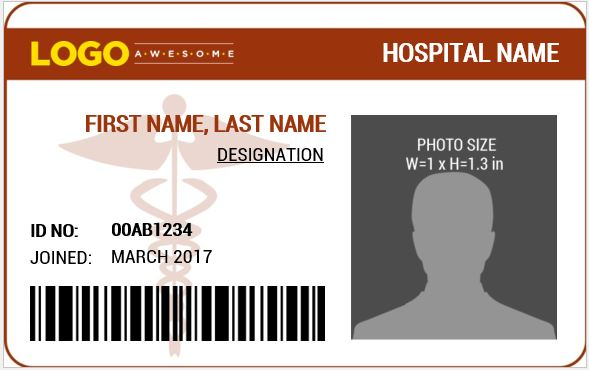 Doctor 39 s photo id badge templates for ms word word for Hospital id badge template