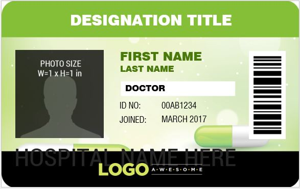 Doctor 39 s photo id badge templates for ms word word for Photographer id card template