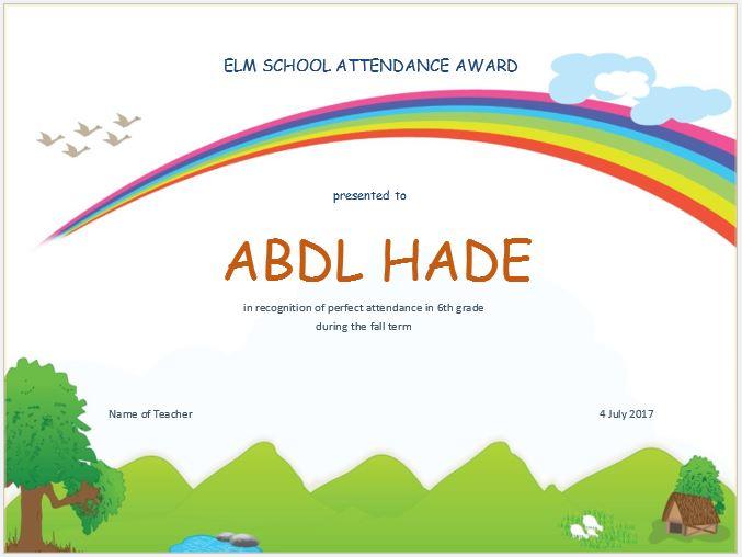 Elementary School Attendance Award Certificate