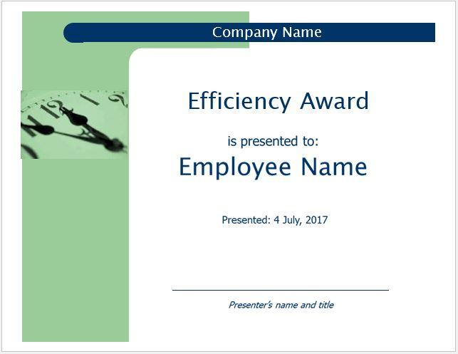 Efficiency Award Certificate