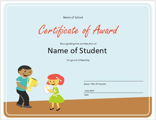 Elementary School Award Certificate