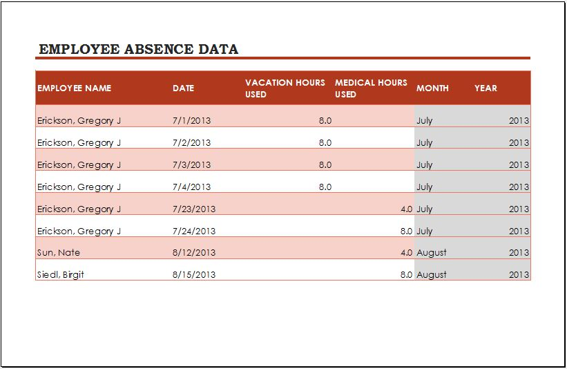 Employee Vacation Tracker Template For Ms Excel  Word  Excel Templates