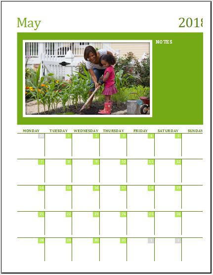 Family Photo Calendar Template