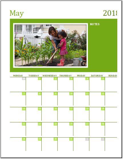 Family Photo Calendar Template