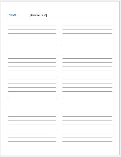 Foldable 2 Pages Note Paper