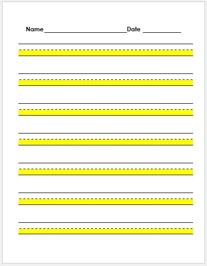 Penmanship Paper Highlighted Yellow