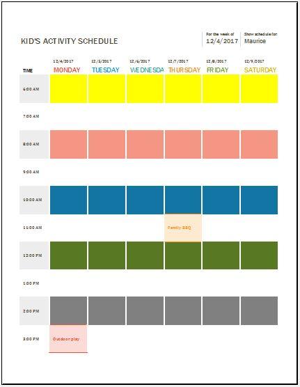Kids Activity Schedule Template
