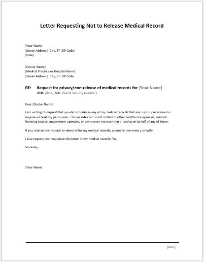 Letter Requesting not to Release Medical Record