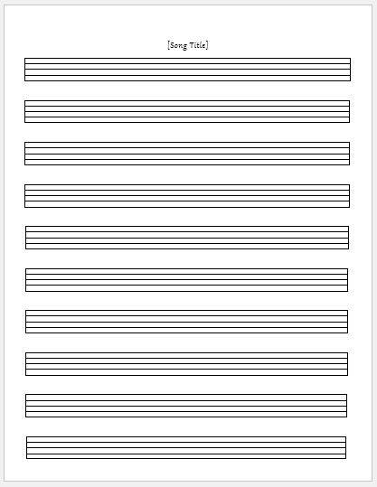 Music Paper Sheet For MS Word