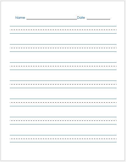 Penmanship Paper BLUE Lines