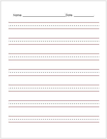 Penmanship Paper RED Lines