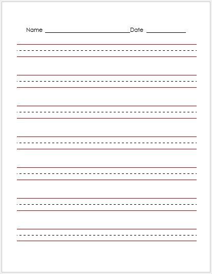 Penmanship Paper RED Lines