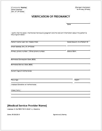 Pregnancy Confirmation Letter