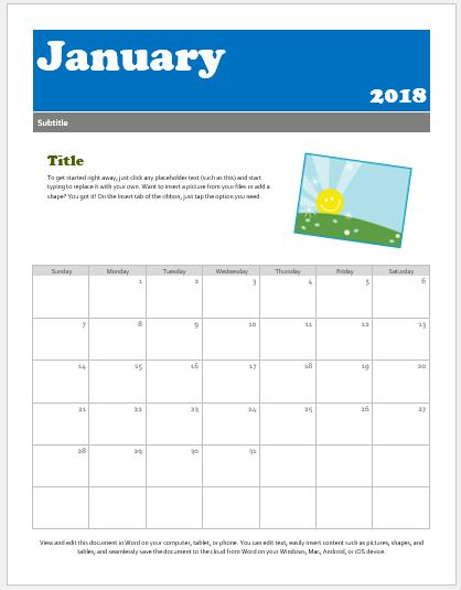 Preschool Calendar Templates For Ms Word & Excel | Word & Excel