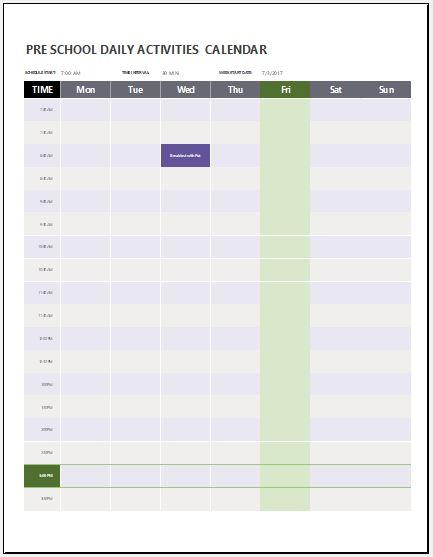 Preschool Daily Activities Calendar