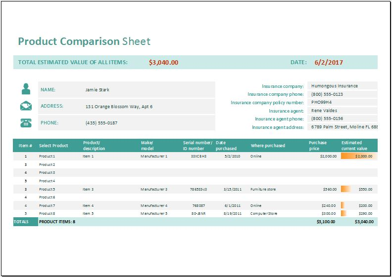 Product Comparison Sheet for Excel