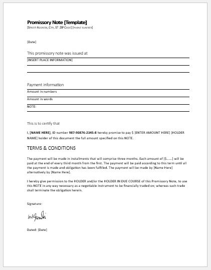 Promissory Note Template