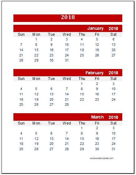 Any Year Quarterly Calendar Template